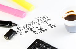 Business plan words near highlighters, calculator and cup of coffee, business concept Royalty Free Stock Photos