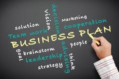 Business plan written on chalkboard Stock Photos