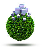 Business planet. 3D green grassy planet with office buildings