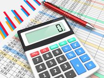 Business planning and accounting. The calculator and pen lies on finance balance tables and graph chart data. A business planning, analyzing and accounting Stock Photography
