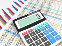 Business planning and analyzing. The calculator lies on finance balance tables and graph chart data. A business planning, analyzing and accounting concept Royalty Free Stock Image
