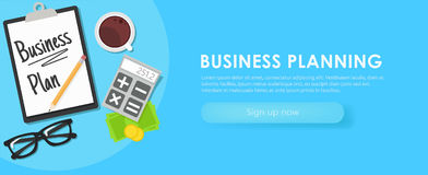 Business planning banner. Workplace with documents, money, glasses, calculator. Flat illustration Royalty Free Stock Photos