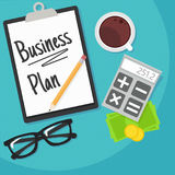 Business planning banner. Workplace with documents, money, glasses, calculator. Flat illustration Royalty Free Stock Image