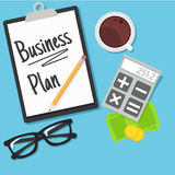 Business planning banner. Workplace with documents, money, glasses, calculator. Vector flat illustration Royalty Free Stock Image