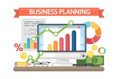 Business planning concept. Data and analysis, research and advertising Stock Image