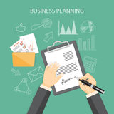 Business planning concept. Flat modern design concept of business planning with hands, writing the contract with icons and hand drawn symbols. EPS 10 Royalty Free Stock Image