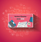Business Planning concept wih Doodle design style. Finding solution, brainstorming, creative thinking. Modern style illustration for web banners, brochure and Royalty Free Stock Photo