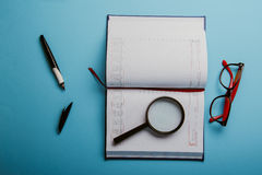 Business planning with copy space and office supplies Royalty Free Stock Image