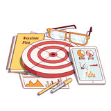 Business planning document next to stationeries stock illustration
