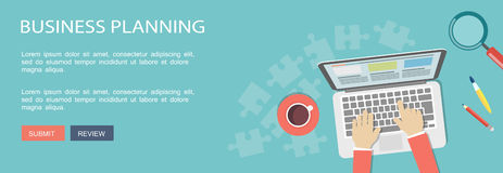 Business planning flat illustration with icons Royalty Free Stock Image