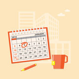 Business planning. Flat modern design concept of business planning with calendar, cup of tea, pencil and construction background. EPS 10 stock illustration