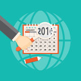 Business planning. Flat  vector illustration. Hands with   magnifier, markerl  and calendar january 2016. EPS 10 Royalty Free Stock Image