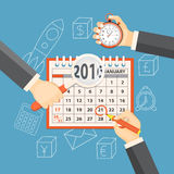 Business planning. Flat vector illustration. Hands with stopwatch, magnifier, pencil and calendar january 2016 on the background with hand drawn business symbols Stock Illustration