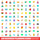 100 business planning icons set, cartoon style Stock Photography