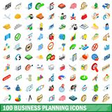 100 business planning icons set, isometric style. 100 business planning icons set in isometric 3d style for any design illustration stock illustration