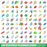 100 business planning icons set, isometric style Stock Image