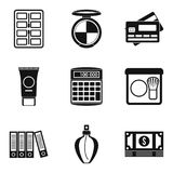 Business planning icons set, simple style. Business planning icons set. Simple set of 9 business planning vector icons for web isolated on white background Royalty Free Stock Photos