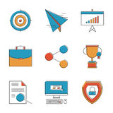 Business planning line icons set Royalty Free Stock Photos
