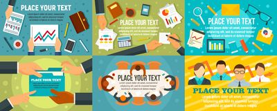 Business planning meeting banner set, flat style vector illustration