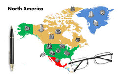 Business planning on north america map. Isolated stock photos