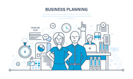 Business planning, process job, management. Business planning, planning of the time and process of job, project management, teamwork. Illustration thin line Stock Photography