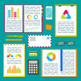 Business planning table with office supplies. Open spiral notebook with marketing strategy data, charts and graphs. EPS10 vector illustration in flat style Royalty Free Stock Photography