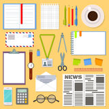 Business planning table with office supplies. Stock Photo