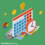 Business planning, time management vector concept. Business planning, time management flat isometric vector concept illustration Royalty Free Stock Photos