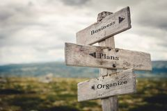 Business, plans and organize wooden signpost outdoors in nature. Quote, message, road, business, success concept stock images