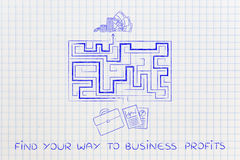 From business plans to obtaining profits, maze metaphor Stock Images