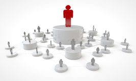 Business Platform Concept. A diagram of team work under the supervision of the red leader Stock Photography