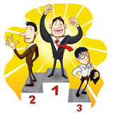 Business Podium With The Winner Businessman Champion. A Business Podium With The Winner Businessman Champion Stand In The First, Second And Third Place Royalty Free Stock Image