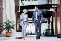 Business poeple group. Young multi ethnic business people group walking standing and top view Stock Photography