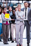 Business poeple group. Young multi ethnic business people group walking standing and top view Royalty Free Stock Photography