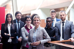 Business poeple group. Young multi ethnic business people group walking standing and top view Stock Photo