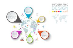 Business pointing labels shape infographic around the world map. Business pointing labels shape infographic around the world map on vector graphic art royalty free illustration