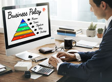 Business Policy Action Pyramid Concept.  Stock Photos