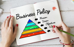 Business Policy Action Pyramid Concept. Business Policy Mission Action Pyramid Royalty Free Stock Photo