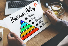 Business Policy Action Pyramid Concept. Business Vision Mission Policy Concept Stock Photo