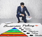 Business Policy Action Pyramid Concept. Business Vision Mission Policy Concept Stock Photos