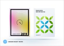 Business polygonal set of design brochure, abstract annual report, horizontal cover flyer in A4. Business set of design brochure, abstract annual report Stock Photography