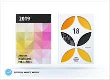 Business polygonal set of design brochure, abstract annual report, horizontal cover flyer in A4. Business set of design brochure, abstract annual report Royalty Free Stock Photos