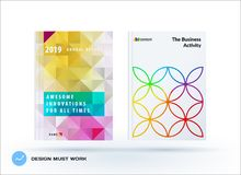 Business polygonal set of design brochure, abstract annual report, horizontal cover flyer in A4. Business set of design brochure, abstract annual report Royalty Free Stock Image