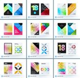 Business polygonal set of design brochure, abstract annual report, horizontal cover flyer in A4. Business set of design brochure, abstract annual report Stock Images