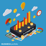 Business portfolio, financial statistics, analysis vector concept. Business portfolio, financial statistics, analysis, management flat isometric vector concept Royalty Free Stock Photography