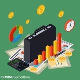 Business portfolio, financial statistics vector concept. Business portfolio, financial statistics, analysis, management flat 3d isometric vector concept Royalty Free Stock Photography
