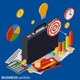 Business portfolio flat isometric vector concept. Illustration Stock Images