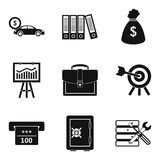 Business portfolio icons set, simple style. Business portfolio icons set. Simple set of 9 business portfolio vector icons for web isolated on white background Royalty Free Stock Images