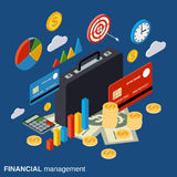 Business portfolio, market statistics, financial management vector concept. Business portfolio, financial analysis, market statistics, financial management flat Stock Images