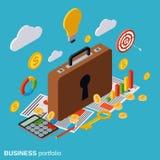 Business portfolio, market statistics, financial management vector concept. Business portfolio, confidential information, business secret, financial statistics Stock Images